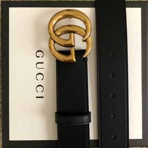 New Gucci GG Gold Buckle Double G Belt